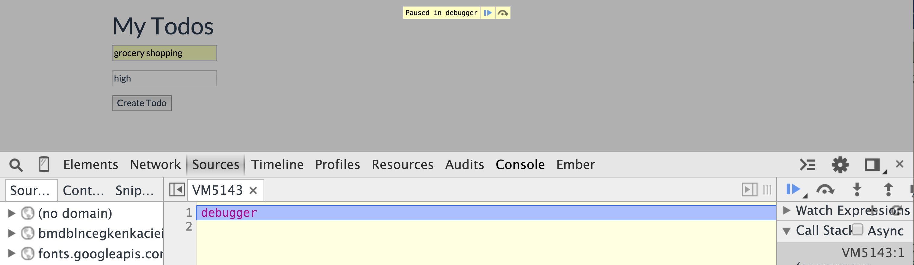 debugger in create.js.erb